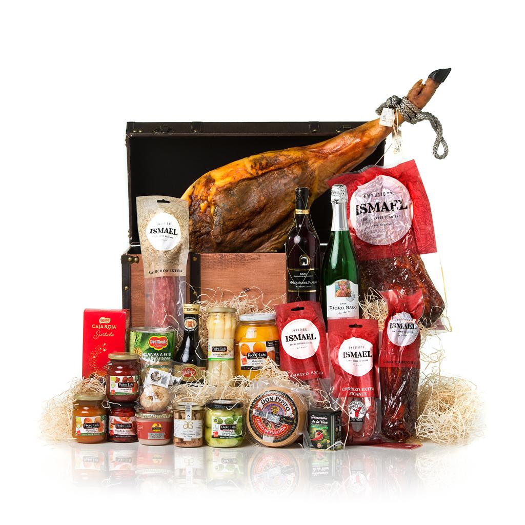 caja cesta baúl de embutido gourmet